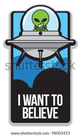 Cartoon Alien Poster - stock vector