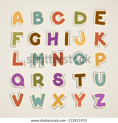 cartoon alphabet - stock vector