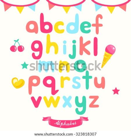 Cartoon Alphabet Vector Design illustration - stock vector