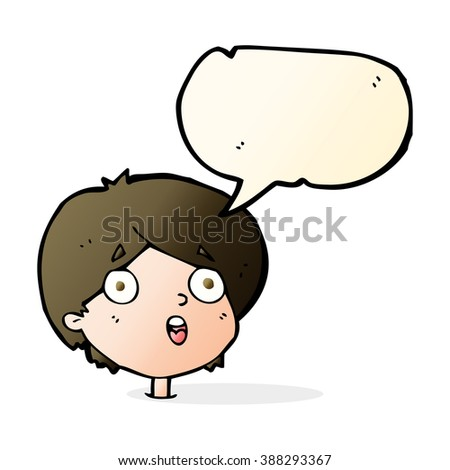 cartoon amazed expression with speech bubble - stock vector