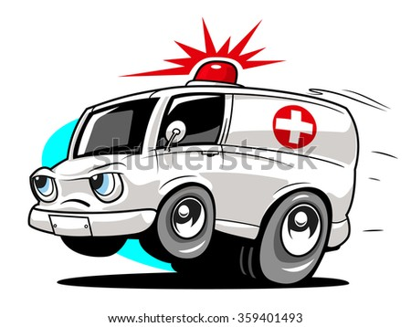 Cartoon ambulance. Vector illustration - stock vector