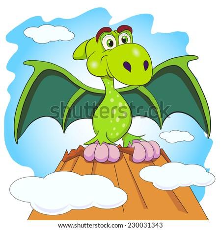 Cartoon amusing little dinosaur sitting on the Mount. - stock vector