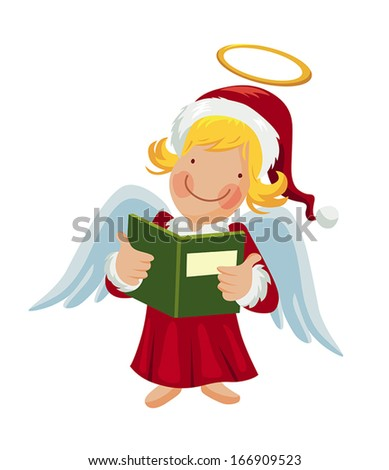 Cartoon angel holding a songbook - stock vector
