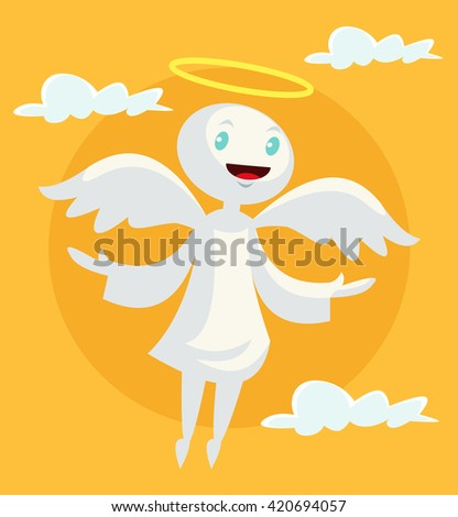 Cartoon angel. Vector flat illustration - stock vector