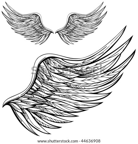 Cartoon angel wings in black and white. Drawn by hand. - stock vector