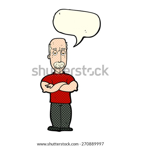 cartoon angry man with mustache with speech bubble - stock vector