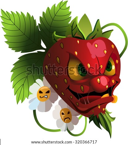 Cartoon angry strawberry with flowers - stock vector