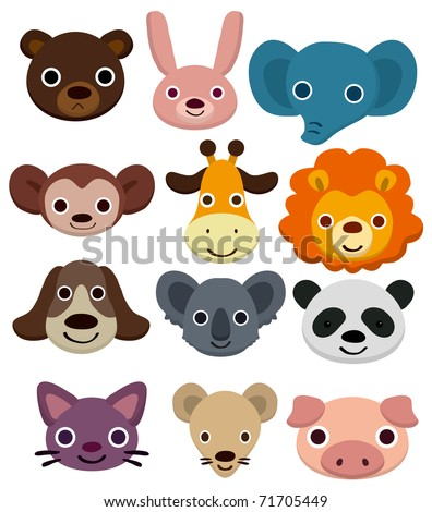 cartoon animal head icon - stock vector