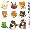cartoon animal play music icon - stock vector