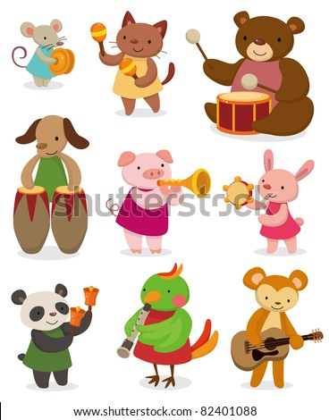 cartoon animal playing music - stock vector