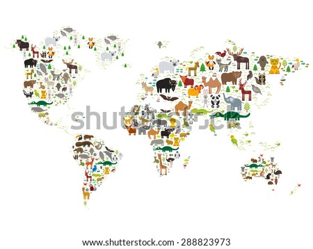 Cartoon animal world map for children and kids, Animals from all over the world on white background. Vector - stock vector