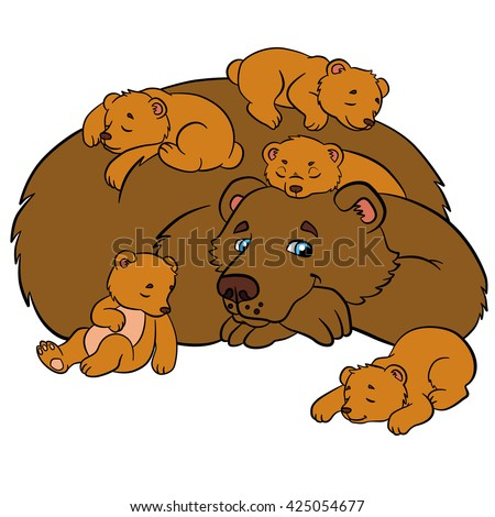 Cartoon animals for kids. Daddy bear with his sleeping little cute baby bears. - stock vector