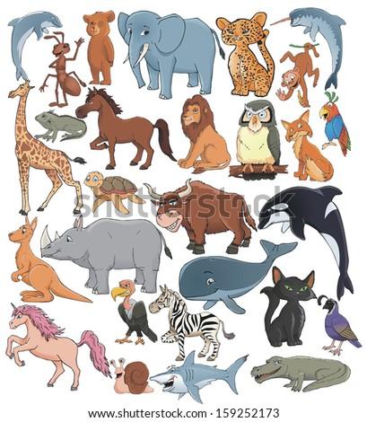 cartoon animals vector set collection - stock vector