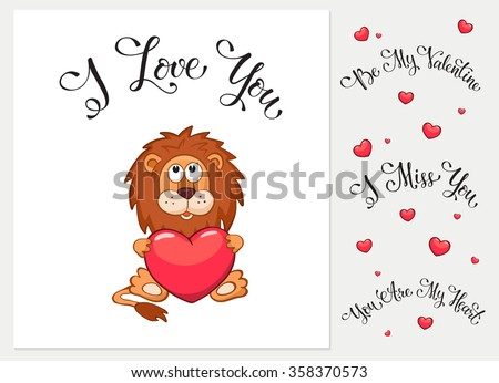 Cartoon animals with hearts. I love you. I miss you.  Be my Valentine. You are my Heart. Funny greeting card. - stock vector