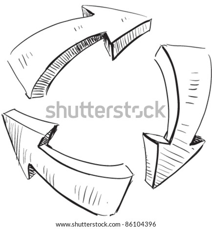 Cartoon arrows and recycle sign icon. Sketch fast pencil hand drawing illustration in funny doodle style. - stock vector