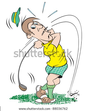 cartoon art of a goofy, mixed-up golfer. He swung at the ball but that's all he knows. - stock vector