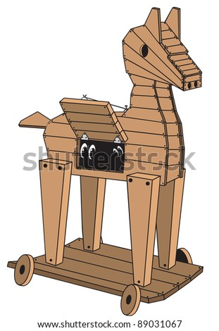 cartoon art of a wooden Trojan horse on wheels that has something peeking out the window. - stock vector