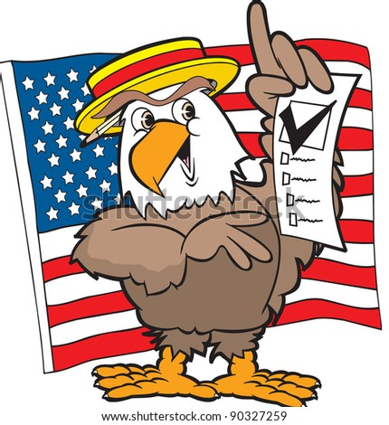 cartoon art of the american eagle expressing his freedom by casting a vote in the upcoming election. The flag is in the background. Elements are separate. - stock vector
