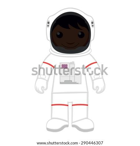 Cartoon astronaut in a space suit - stock vector