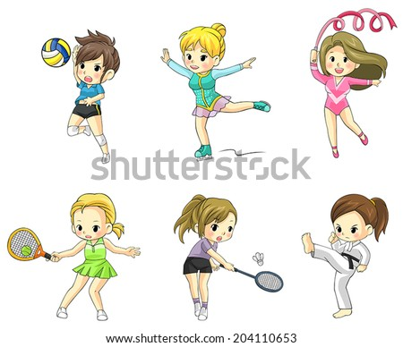 Cartoon athlete children girls icon in action in various type of sports such as volleyball, tennis, badminton, taekwondo, gymnastic and ice skating, create by vector  - stock vector