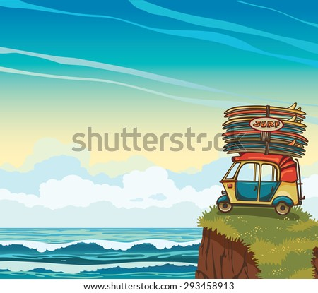 Cartoon auto rickshaw with surfboards on a cloudy sky and blue sea. Natural vector illustration about surfing. - stock vector