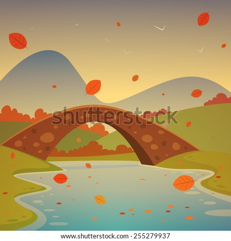 Cartoon autumn landscape with bridge and mountains in background. - stock vector