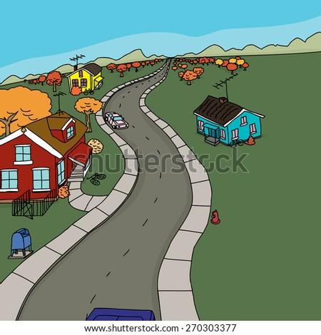 Cartoon autumn scene of cars on road near yellow house - stock vector