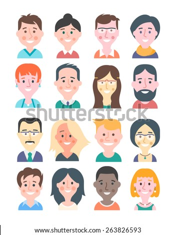 Cartoon avatars of young women and men in modern flat design style. Various hairstyles, trendy colors, happy facial expressions. Cartoon illustrations isolated on white background. - stock vector