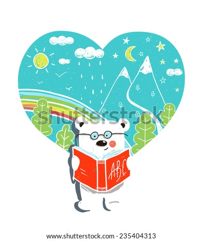 Cartoon Baby Bear Reading Book with Nature Heart. Hand drawn simple childish bear wearing glasses and studying. Vector illustration. - stock vector