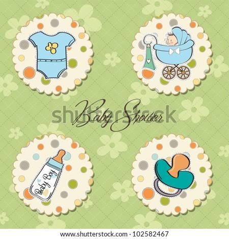 cartoon baby boy items collection - stock vector