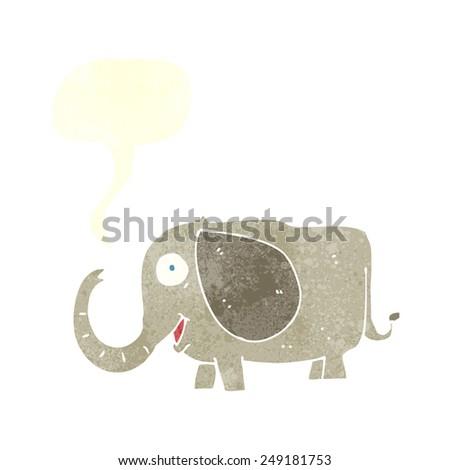 cartoon baby elephant with speech bubble - stock vector