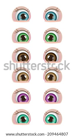 Cartoon Baby Eyes - stock vector