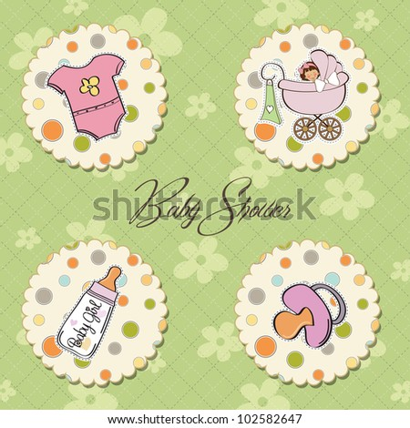 cartoon baby girl items collection - stock vector