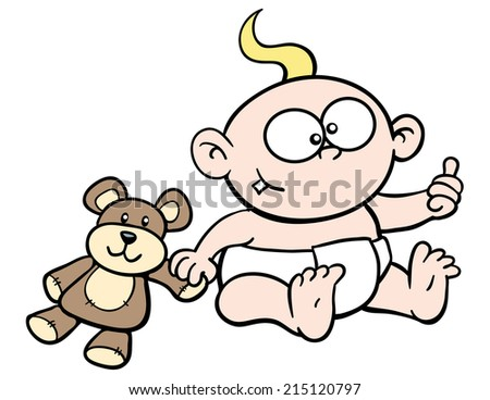 Cartoon baby, giving thumbs up, smiling, with teddy bear - stock vector