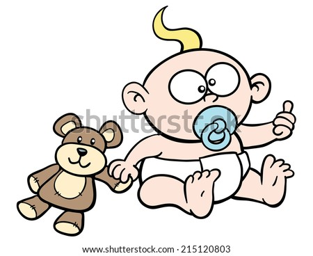 Cartoon baby, giving thumbs up, sucking pacifier, with teddy bear - stock vector
