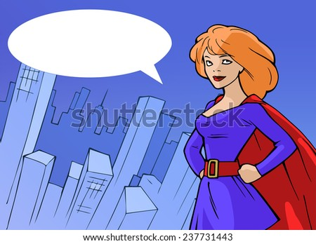 Cartoon background with superhero woman in bright costume standing on the background of the city - stock vector