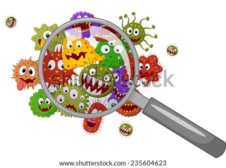 Cartoon bacteria under a magnifying glass - stock vector