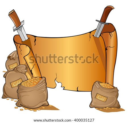 cartoon bags of gold near vintage open scroll banner attached by two knives. Game style - stock vector