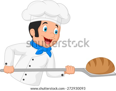 Cartoon baker holding bakery peel tool with bread - stock vector