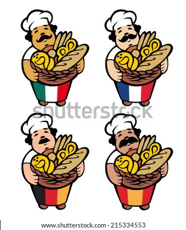 Cartoon baker takes basket with bread and buns, vector - stock vector
