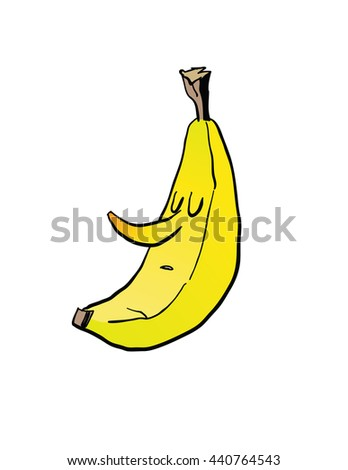 cartoon banana face - stock vector