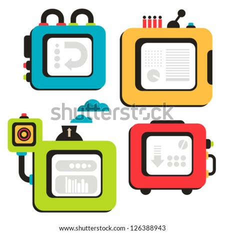 Cartoon banner machines. Vector illustration of different cute robots and equipment. - stock vector