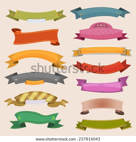 Cartoon Banners And Ribbons/ Illustration of a set of various cartoon colored banners, origami, ribbons, swirls and scrolls to use as ornaments - stock vector
