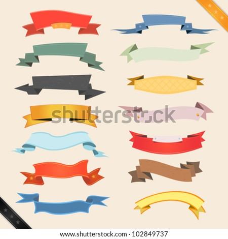 Cartoon Banners And Ribbons/ Illustration of a set of various colored banners, origami, ribbons, swirls and scrolls  to use as ornaments - stock vector