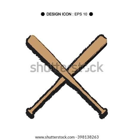 Cartoon Baseball Crossed Bats Vector EPS10, Great for any use. - stock vector