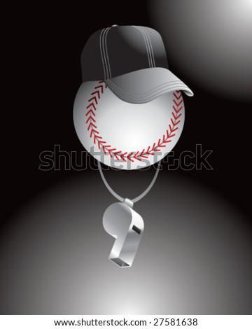 cartoon baseball referee - stock vector