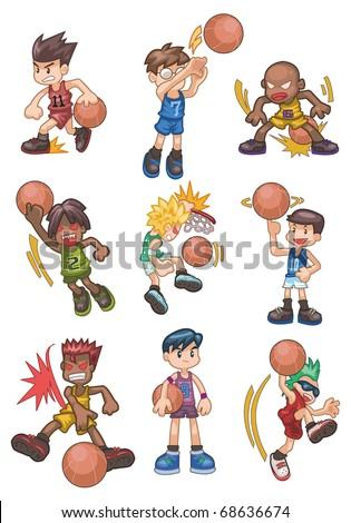 cartoon basketball icon - stock vector