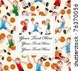 cartoon basketball player card - stock vector
