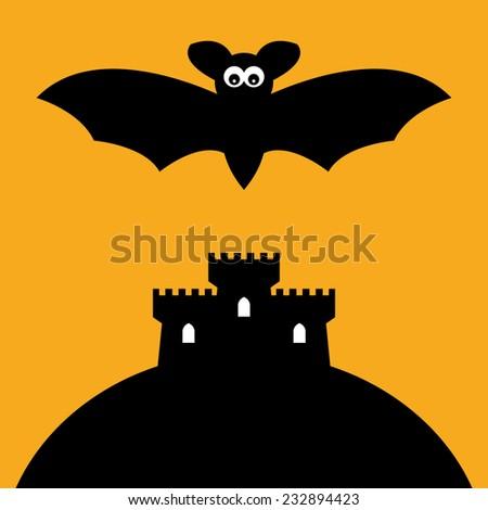Cartoon Bat and castle, vector illustration - stock vector