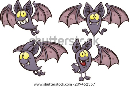 Cartoon bat in different poses. Vector clip art illustration with simple gradients. Each on a separate layer. - stock vector